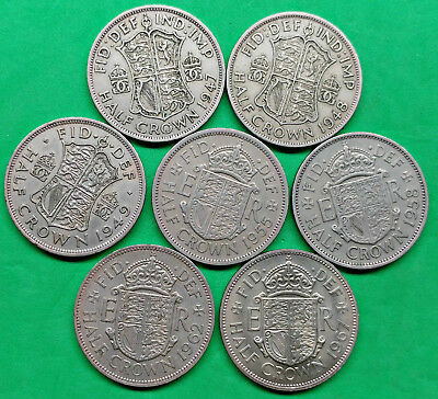 Lot of 7 Different Old British Half Crown Coins 1947-1967 !!