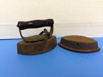 Antique Wooden Crock or Box Handle Grip with Iron Attachments