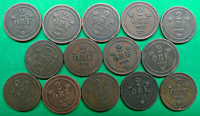Lot of 14 Different Old Sweden 2 Ore Coins 1874-1889 !!
