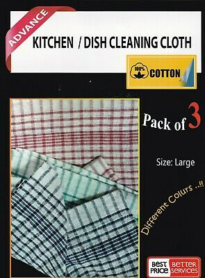 100% Cotton Tea Towels Set Kitchen Dish Cloths Cleaning Drying Pack of 3