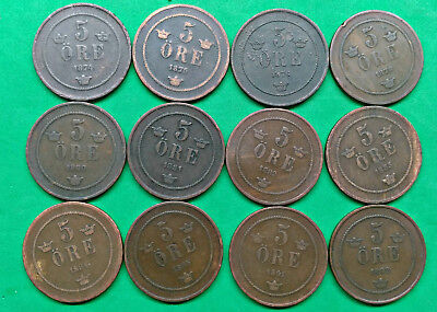 Lot of 12 Different Old Sweden 5 Ore Coins 1874-1892 !!