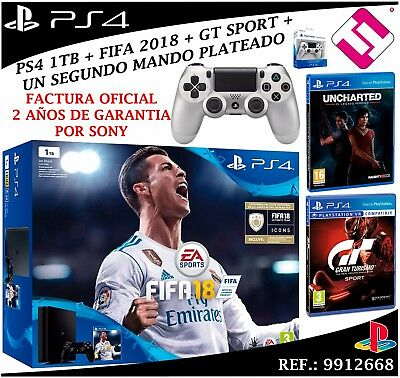 Console Sony Ps4 Playstation 4 1Tb Slim Fifa 2018 Uncharted Gt Sport Manette