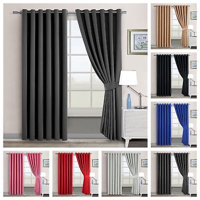 Thermal Blackout Ready Made Pair Curtains Eyelet / Ring Top With FREE Tie Backs