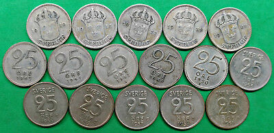 Lot of 16 Different Old Sweden Silver 25 Ore Coins 1910-1961 !!