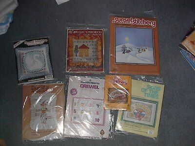lot of 7 craft kits Needlecraft crewel embroidery applique candlewicking