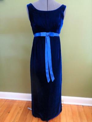 Vintage 60s Carol Brent Formal Gown DRESS Size 0-2 Cobalt Blue Floor Length PROM