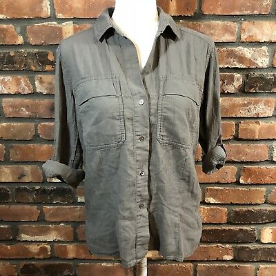 24ad9169 STANDARD JAMES PERSE Women's Sz 1 US S Olive Green Button-Down 3/4 ...