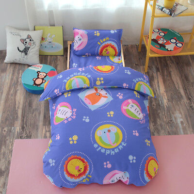 Cartoon Animals New Baby Bedding Crib Cot Set Quilt Cover Padded Cotton Nursery