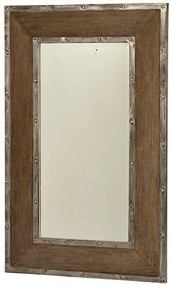 """49"""" Tall Alvisa Mirror Old Wood Brown Frame Metal Accents Rustic"""