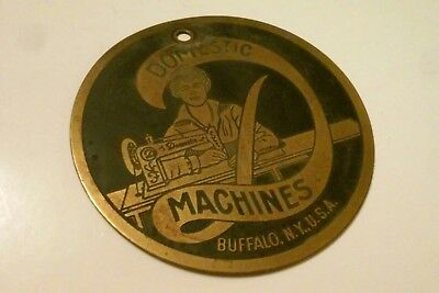 30's VINTAGE BRASS DOMESTIC SEWING SEW MACHINE INDUSTRIAL PLATE BUFFALO NEW YORK