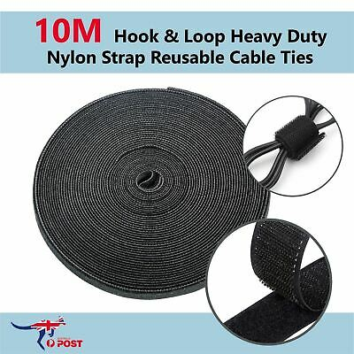 10M Hook & Loop Heavy Duty Nylon Strap Reusable Cable Ties Grip PC TV Tidy Wrap