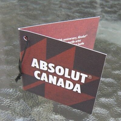 Absolut Vodka * Limited Edition Canada 150 * Neck Tag  * No Bottle * New Necktag