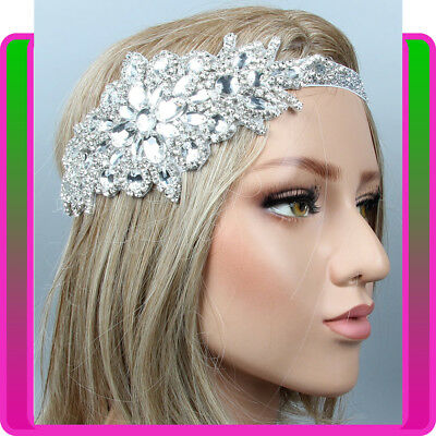1920s Headband Bridal Great Silver Gatsby Party 20s Flapper Headpiece Gangster