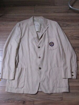 VTG LINEN Bowling Chainstitched ROCKABILLY Exposed Pocket Sports Coat/Jacket XL