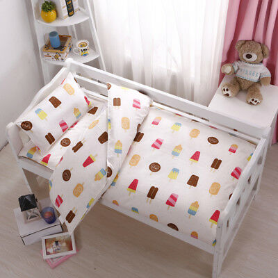 Ice Cream Summer New Baby Bedding Crib Cot Set Quilt Cover Padded Cotton Nursery