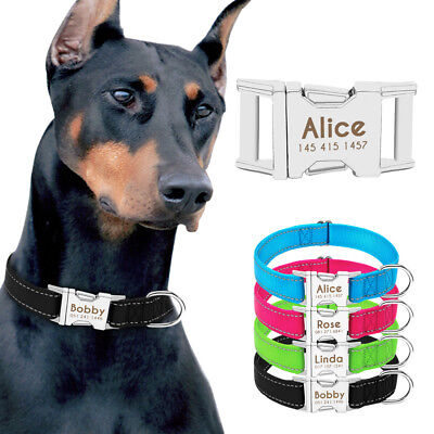 Nylon Personalized Dog Collar Small Large Pet Custom Name Collar Tags Heavy Duty