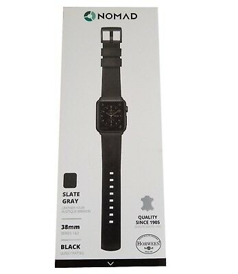 NEW Apple Watch Band 38mm by Nomad Slate Gray Leather Watch Strap Black Hardware