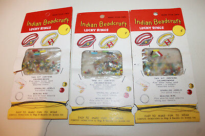 INDIAN LUCKY RINGS Vintage Ring BeadCrafts Making Kit lot of 3