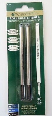 MONTBLANC BY MONTEVERDE ROLLERBALL MEDIUM Point Refill BLACK (2 Pk) NEW 88515