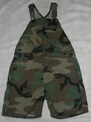 """Shortall's, Kids Woodland Camo, """"old Stock"""" U.s.a., Poly/cotton """"large""""  New!"""