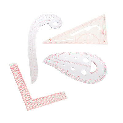 4pcs DIY Sewing Tools Plastic Design Ruler French Curve Triangle Rulers