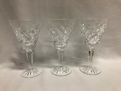 """Waterford Crystal Tyrone Set of 3 Water Goblets Glasses 6 7/8"""""""