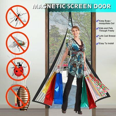 "Magnetic Screen Door Durable Fiberglass Mesh Curtain Full Frame Fit 38""x82"" Door"