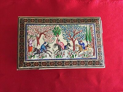 PERSIAN INLAID BONE & WOOD HAND PAINTED MINIATURE TRINKET BOX 5.5x3.5x1.8 Inches
