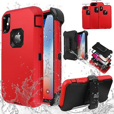 Shockproof Heavy Duty Hybrid Belt Clip Armor Case Cover for iPhone X 7 8 6s Plus