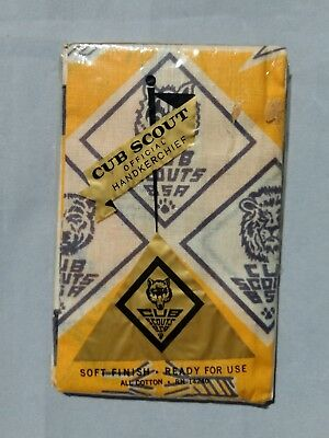 Cub Scout Official Handkerchief New in Package All Cotton Scarf Vintage