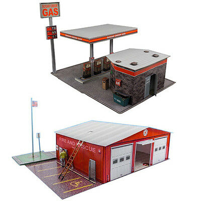 """1:87 Train HO Scale """"Gas Station & Fire Department"""" Model Building Kit Scenery"""