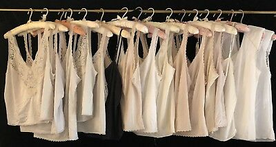 Lot of 16 Vintage Camisoles Various Makers, Colors & Sizes Nylon Lace Cami
