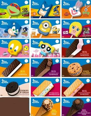 17 Ice Cream Truck Decal Stickers at discount price Blue Bunny FaceSandwich,cone
