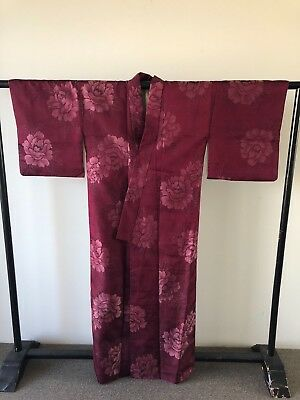 Woven Silk Floral Rose Vintage Japanese Hand Made One of a Kind Authentic Kimono