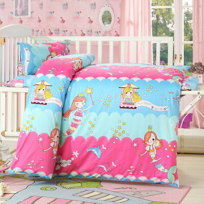 Mermaid Princess New Baby Bedding Crib Cot Set Quilt Cover Padded Cotton Nursery