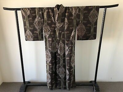 Vintage Japanese Woven Silk Kimono Hand Made Authentic One of a Kind Old Kyoto