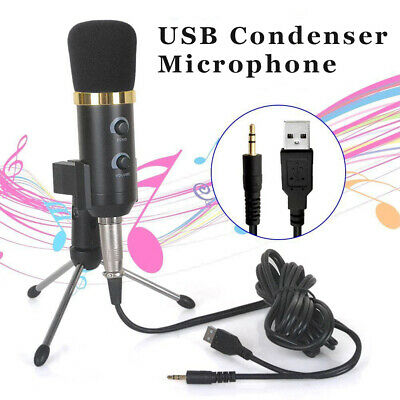PC USB Podcast Studio Condenser Recording Microphone Vocal Singing Mic Stand UK