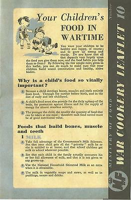 Your Children's Food in Wartime World War 2 Food Rationing Home Front 1940