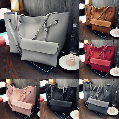 Womens 2Pcs Ladies PU Leather Tote Shoulder Handbag Purse Shopper Clutch Bag