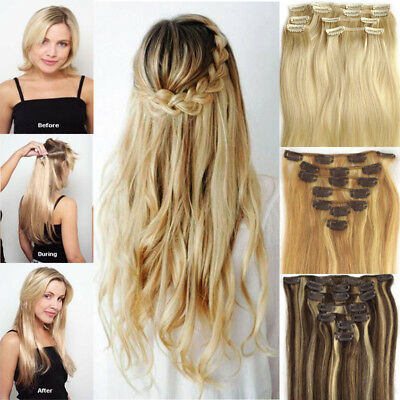 """100% Remy Human Hair Extensions Clip In Full Head Black Brown Blonde Red 20"""" AU"""