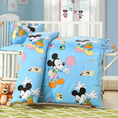 Blue Mickey Mouse Baby Bedding Crib Cot Set Quilt Cover Padded Cotton Nursery