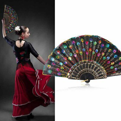 Vintage Chinese Folding Hand Fan Peacock Floral Handheld Party Dacing Fan USA