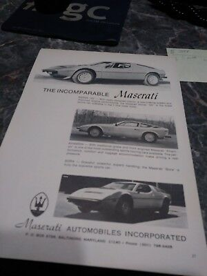 lot 7 maserati ad ghilbi mistral indy 2+2 vintage auto show poster