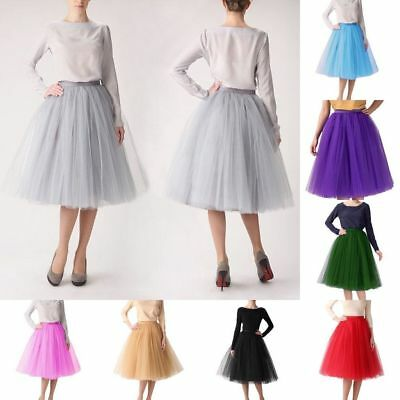 Women Girl Prom Dress Fancy Skirt Five Layers tulle Skirts Adult Tutu Ball Gown-