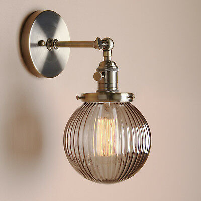 VINTAGE WALL LAMP SCONCE BLACK GREY GLOBE RIBBED GLASS SHADE LIGHT W/Switches