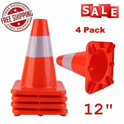 4X 12In Traffic Cone Slim Fluorescent Red Reflective Road Safety Parking Cones X