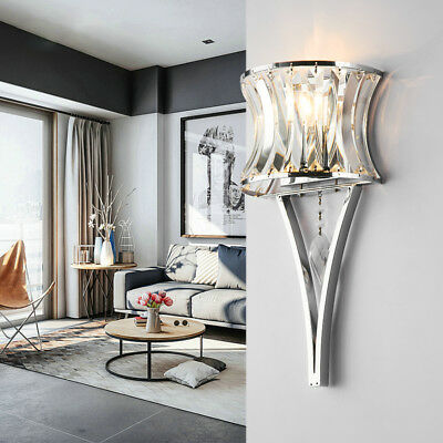 Modern Clear Crystal Curved Prisma 1 Lamp Chrome Porch Wall Lights Sconces Art