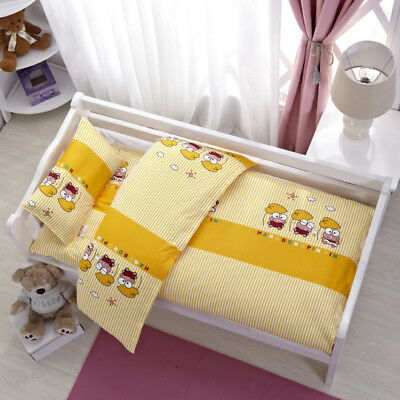 Yellow Frogs Animal Baby Bedding Crib Cot Set Quilt Cover Padded Cotton Nursery