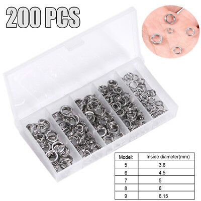 200PCS 5 Tailles SPLIT Rings Standard Nickel Tackle Making spinners lures Plugs