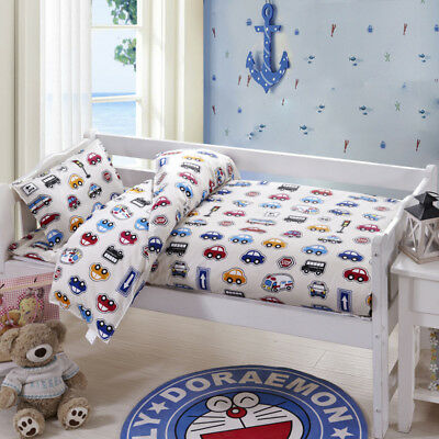 White Car Baby Bedding Crib Cot Sets Quilt Cover Padded Cotton Nursery Pillows